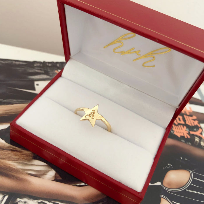 14K STAR SIGNET RING