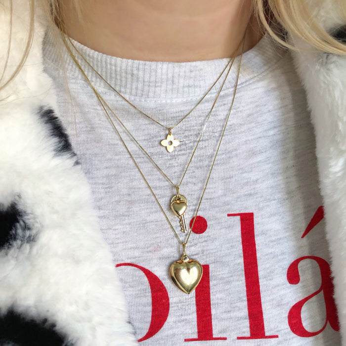 14K LV FLOWER CHARM NECKLACE