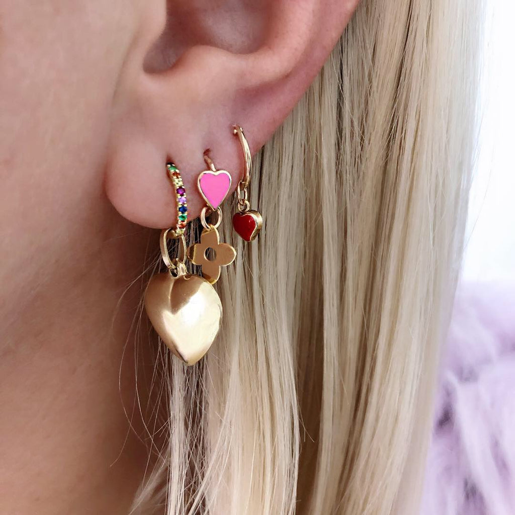 14K ENAMEL BRIGHT HEART HOOPS