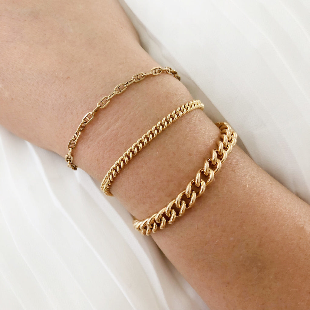 H CHAIN BRACELET & NECKLACE (14K GOLD FILLED OR STERLING SILVER)