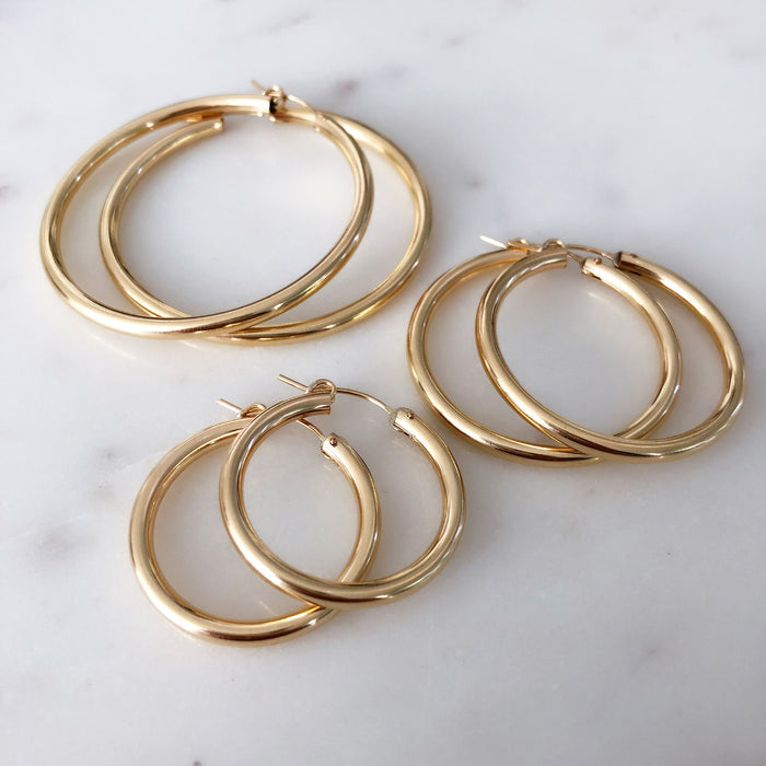 EDIE HOOPS (14K GOLD FILLED OR STERLING SILVER)