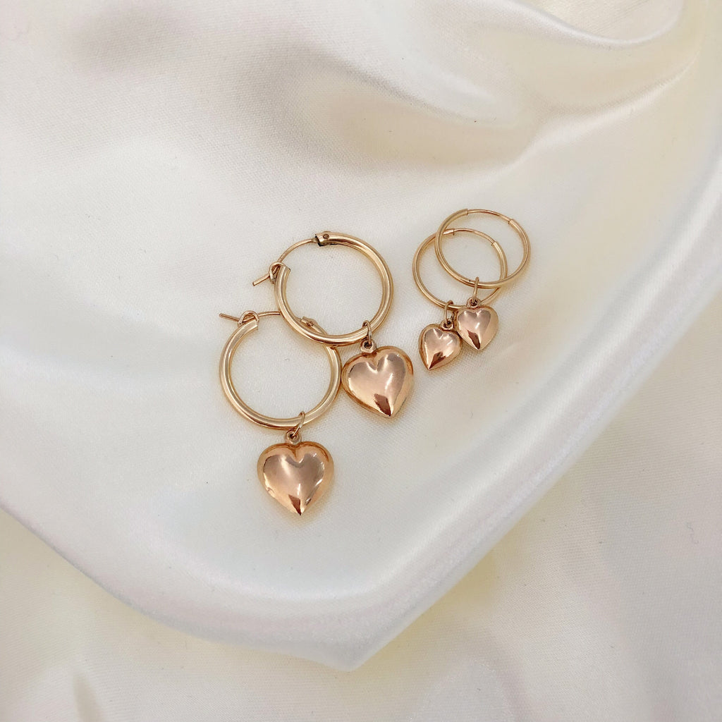 BUBBLE CHARM HOOPS (14K GOLD FILLED OR STERLING SILVER)