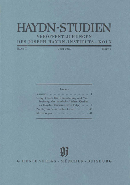 Juni 1965: Haydn Studies Volume I, No. 1 Paperbound