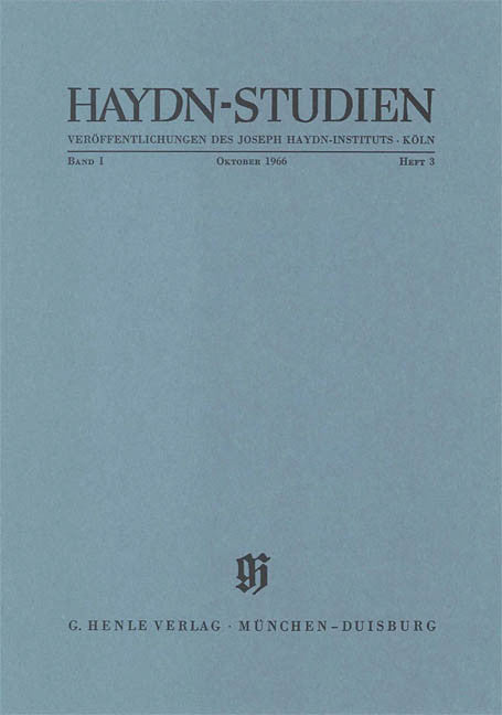 Oktober 1966: Haydn Studies Volume I, No. 3 Paperbound