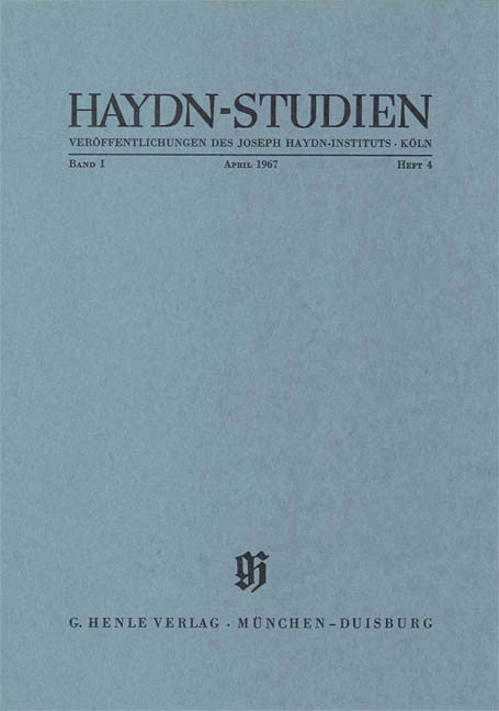 Apr-67: Haydn Studies Volume I, No. 4 Paperbound