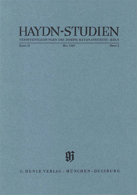 Mai 1969: Haydn Studies Volume II, No. 2 Paperbound