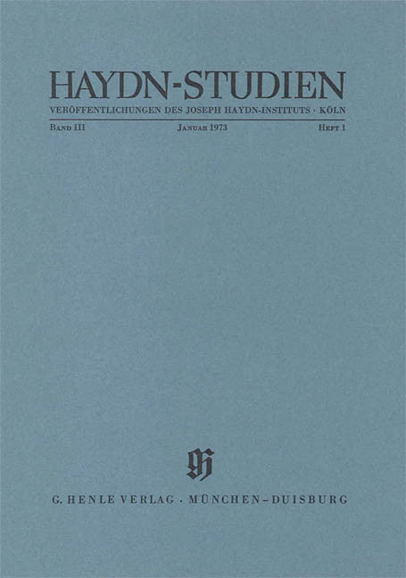Januar 1973: Haydn Studies Volume III, No. 1 Paperbound