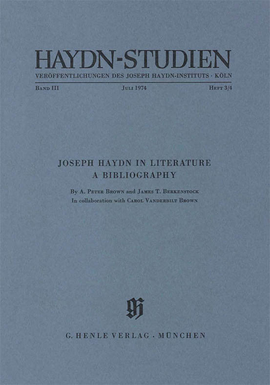 Joseph Haydn in Literature - A Bibliography: Haydn Studies Volume III, No. 3/4 Paperbound