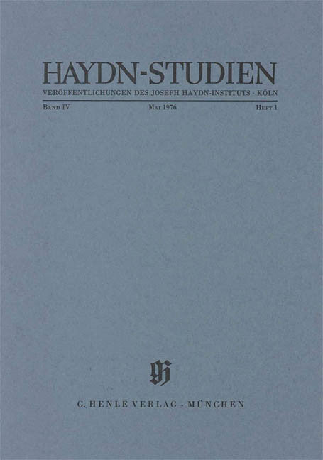 Mai 1976: Haydn Studies Volume IV, No. 1 Paperbound