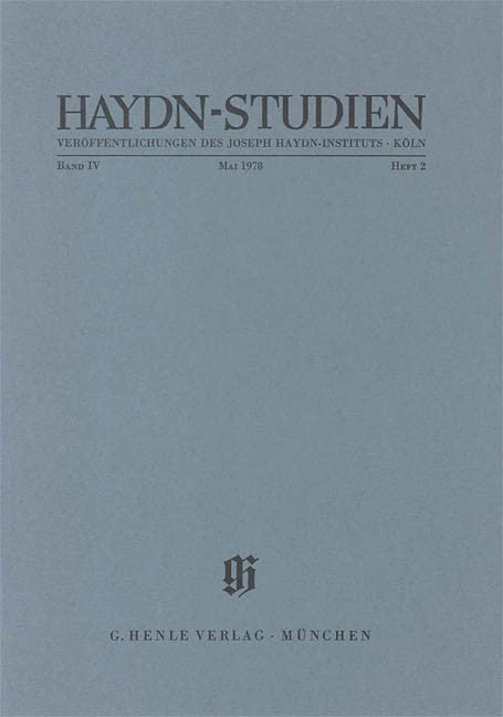 Mai 1978: Haydn Studies Volume IV, No. 2 Paperbound