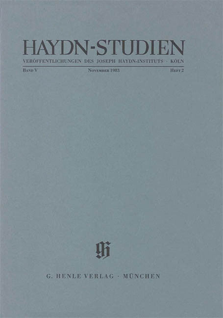 November 1983: Haydn Studies Volume V, No. 2 Paperbound