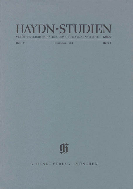 Dezember 1984: Haydn Studies Volume V, No. 3 Paperbound