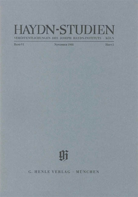 Haydn Studies Volume VI, No. 2 Paperbound