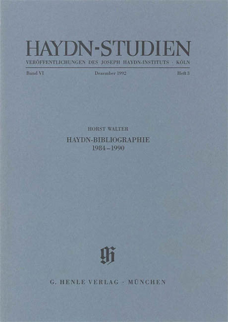 Haydn-Bibliographie 1984-1990: Haydn Studies Volume VI, No. 3 Paperbound