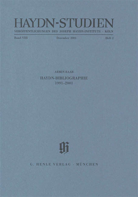 Haydn-Bibliographie 1991-2001: Haydn Studies Volume VIII, No. 1 Paperbound