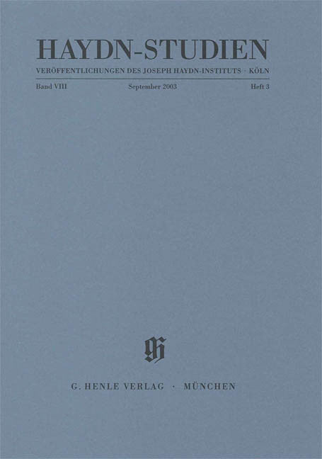 September 2003: Haydn Studies Volume VIII, No. 3 Paperbound