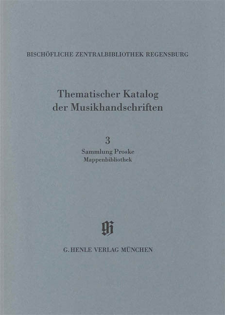 Sammlung Proske, Mappenbibliothek: Catalogues of Music Collections in Bavaria Vol.14, No.3 Paperbound