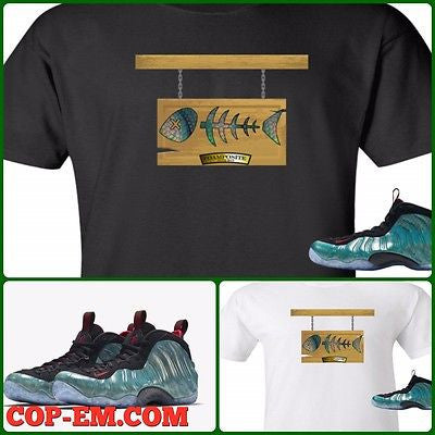 "EXCLUSIVE TEE SHIRT to match the NIKE AIR FOAMPOSITE 1 GONE FISHING-""FOAM PLAQUE"""