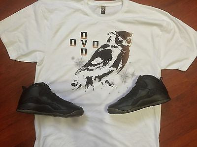 EXCLUSIVE TEE SHIRT to match the AIR JORDAN X 10 OVO BLACKS or WHITES (DRAKE)!