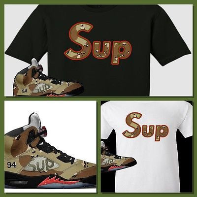 EXCLUSIVE TEE SHIRT to match the SUPREME AIR JORDAN 5 COLLAB CAMO'S! SUP CAMO