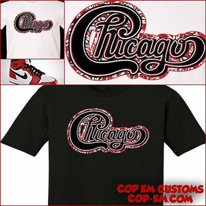 "EXCLUSIVE TEE SHIRT to match the NIKE AIR JORDAN 1 CHICAGO'S! ""CHICAGO J'S"""