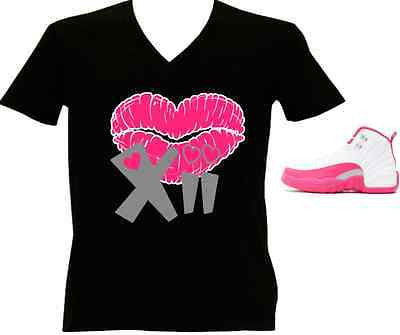 LADIES / WOMENS TEE SHIRT to match the NIKE JORDAN XII 12 VALENTINES! KISS