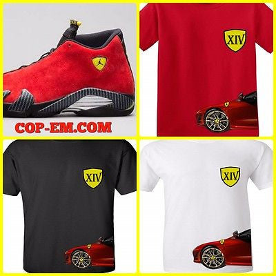 "EXCLUSIVE TEE/ T SHIRTto match the NIKE AIR JORDAN XIV 14 FERRARIS! ""J14"""
