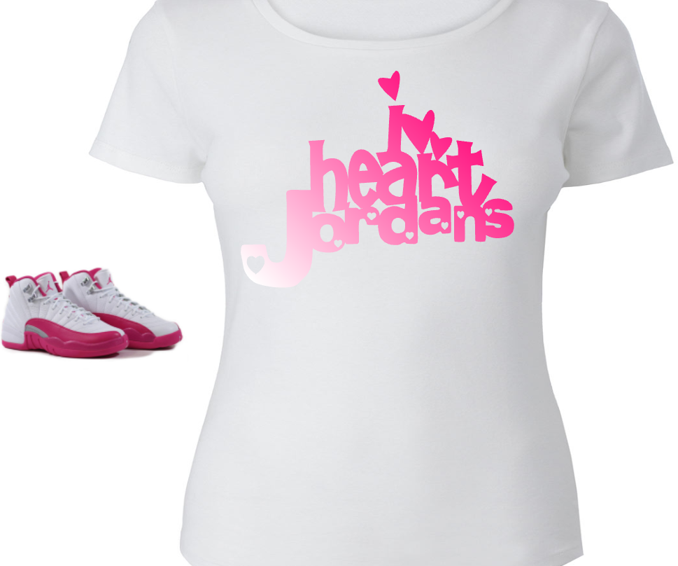 676455d149d9 I HEART  LADIES   WOMENS TEE SHIRT to match the NIKE JORDAN XII 12  VALENTINES!