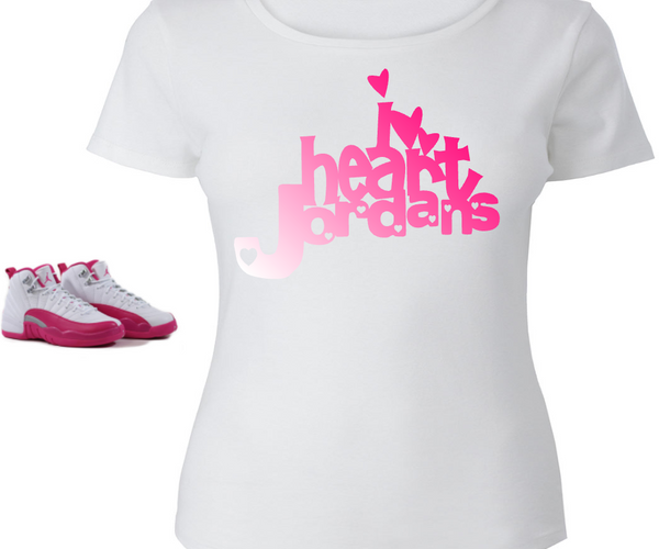 LADIES / WOMENS TEE SHIRT to match the NIKE JORDAN XII 12 VALENTINES! I HEART JORDAN
