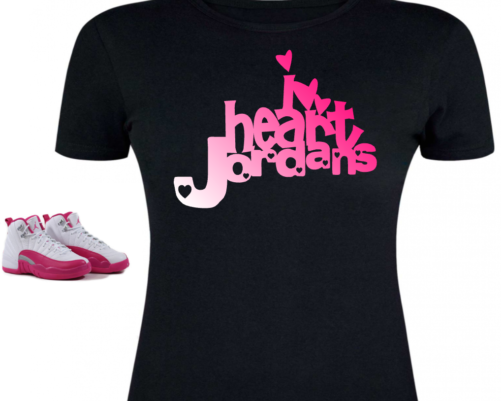 5748b21cc9db LADIES   WOMENS TEE SHIRT to match the NIKE JORDAN XII 12 VALENTINES! I  HEART JORDAN