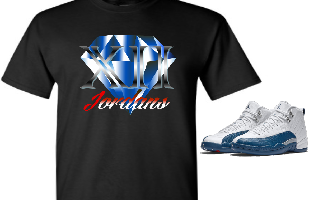 EXCLUSIVE SHIRT to match the NIKE AIR JORDAN 12 FRENCH BLUE! BLUE DIAMOND 12