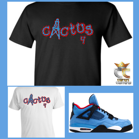 EXCLUSIVE TEE/T SHIRT 1 to match AIR JORDAN 4 TRAVIS SCOTT CACTUS JACK OILERS or ANY BRED UNC PANTONE COLUMBIA BLUE COLORWAYS