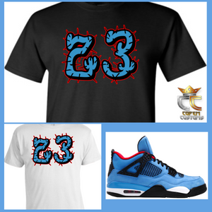 EXCLUSIVE TEE/T SHIRT  to match AIR JORDAN 4 TRAVIS SCOTT CACTUS JACK OILERS or ANY BRED UNC PANTONE COLUMBIA BLUE COLORWAYS