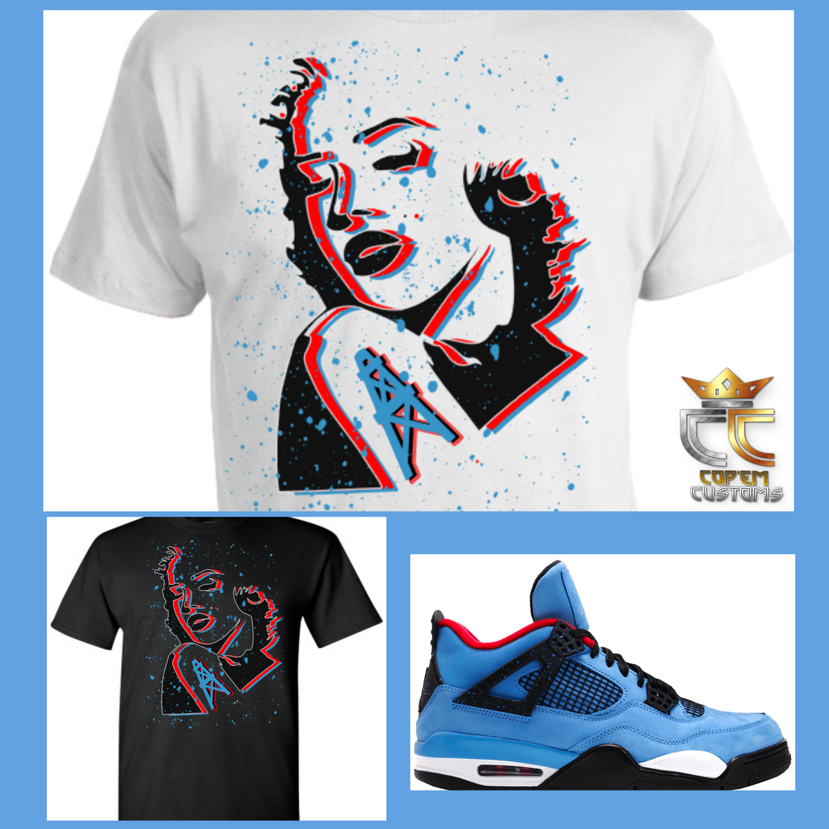 outlet store 034b8 2a18d EXCLUSIVE TEE/T SHIRT 2 to match AIR JORDAN 4 TRAVIS SCOTT CACTUS JACK  OILERS or ANY BRED UNC PANTONE COLUMBIA BLUE COLORWAYS