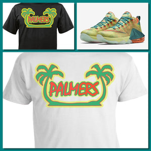 "EXCLUSIVE TEE SHIRT to match the NIKE LEBRON 12 PALMERS! ""TWIN PALMERS"""