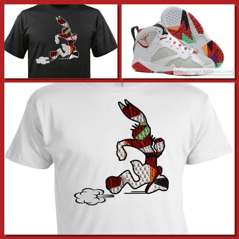 "EXCLUSIVE SHIRT to match the NIKE AIR JORDAN 1 OR 7 VII HARES! ""HARE RACE"""