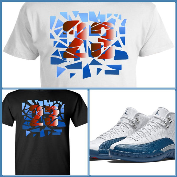 EXCLUSIVE SHIRT to match the NIKE AIR JORDAN 12 FRENCH BLUE! 23 SHATTER