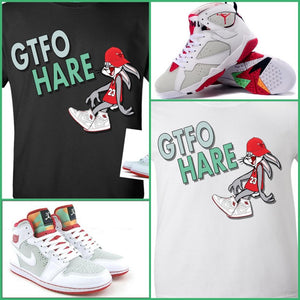"EXCLUSIVE SHIRT to match the NIKE AIR JORDAN 1 HARES! ""GTFO HARE"""