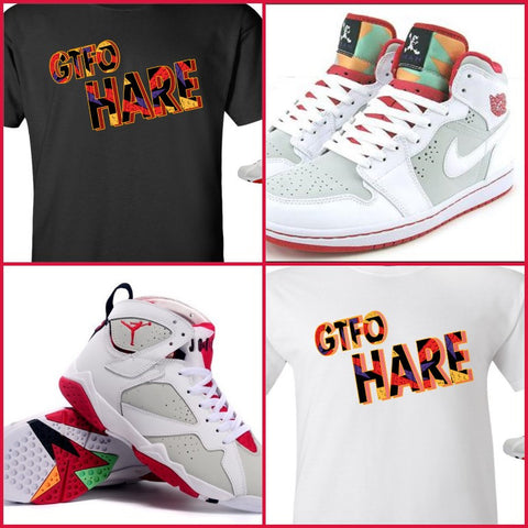 "EXCLUSIVE SHIRT to match the NIKE AIR JORDAN 1 OR 7 HARES! ""GTFOHARE-2"""