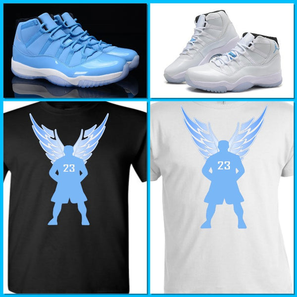 EXCLUSIVE TEE/T-SHIRT to match NIKE AIR JORDAN 11 LEGEND BLUES, COLUMBIAS, PANTONES/ JORDAN 29 XX9/GOF PACK , FRENCH BLUE or POWDER BLUES!