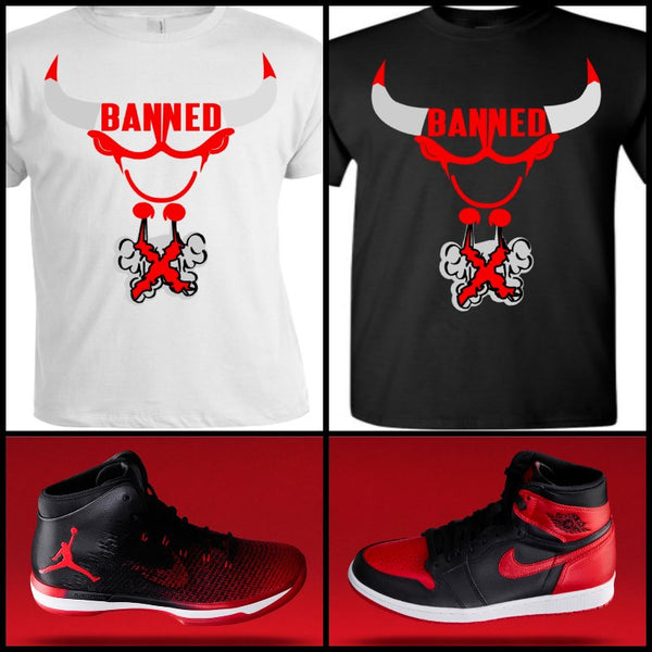 "EXCLUSIVE TEE/T-SHIRT to match NIKE AIR JORDAN BANNED BREDS! ""BANNED BULL"""