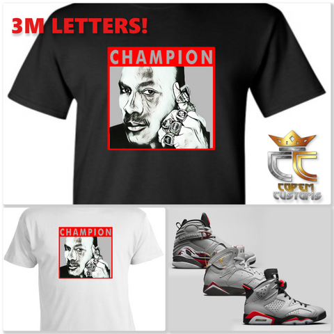 EXCLUSIVE TEE/T SHIRT WITH 3M PRINT to match AIR JORDAN RELECTIONS OF A CHAMPION