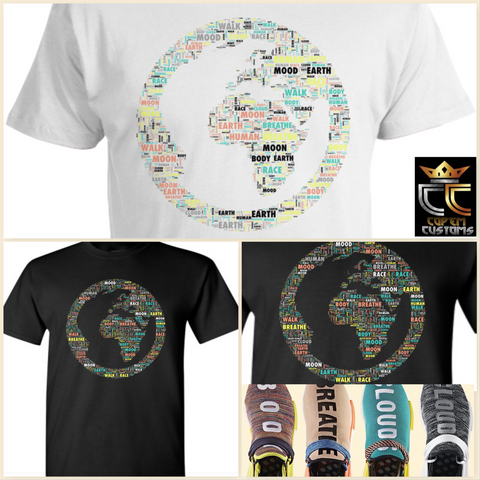 EXCLUSIVE TEE / T-SHIRT 2 to match ANY Adidas Pharrell x NMD Trail 'Human Race' Colorway!