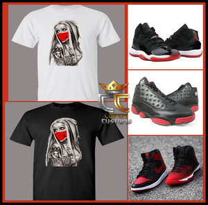 EXCLUSIVE TEE/T SHIRT to match any AIR JORDAN BREDS or ANY RED COLORWAY JORDANS!