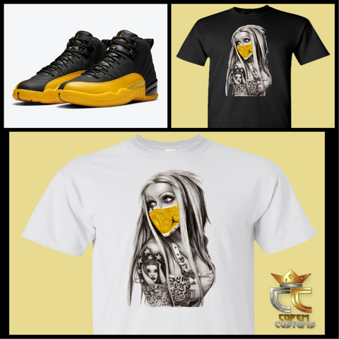 EXCLUSIVE TEE/T SHIRT 1 to match AIR JORDAN 12 'UNIVERSITY GOLD' OR MASTERS or ANY YELLOW JORDANS!