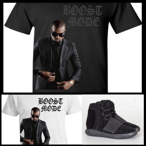 "EXCLUSIVE TEE SHIRT to match the  ADIDAS YEEZY BOOSTS 750 or 350 BLACKS! ""CLASSY BOOST MODE"""