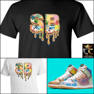 "EXCLUSIVE TEE SHIRT 4 TO MATCH the Thomas Campbell x Nike SB Dunk ""WHAT THE"""