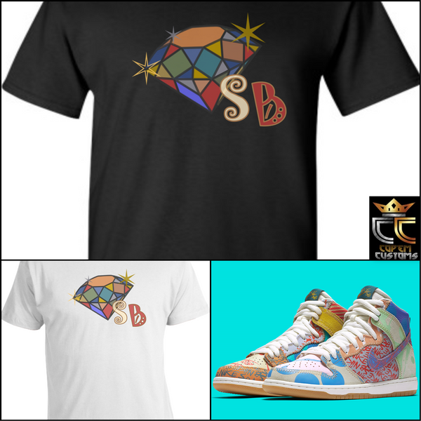 "EXCLUSIVE TEE SHIRT 2 TO MATCH the Thomas Campbell x Nike SB Dunk ""WHAT THE"""