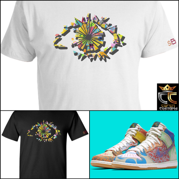 "EXCLUSIVE TEE SHIRT 3 TO MATCH the Thomas Campbell x Nike SB Dunk ""WHAT THE"""