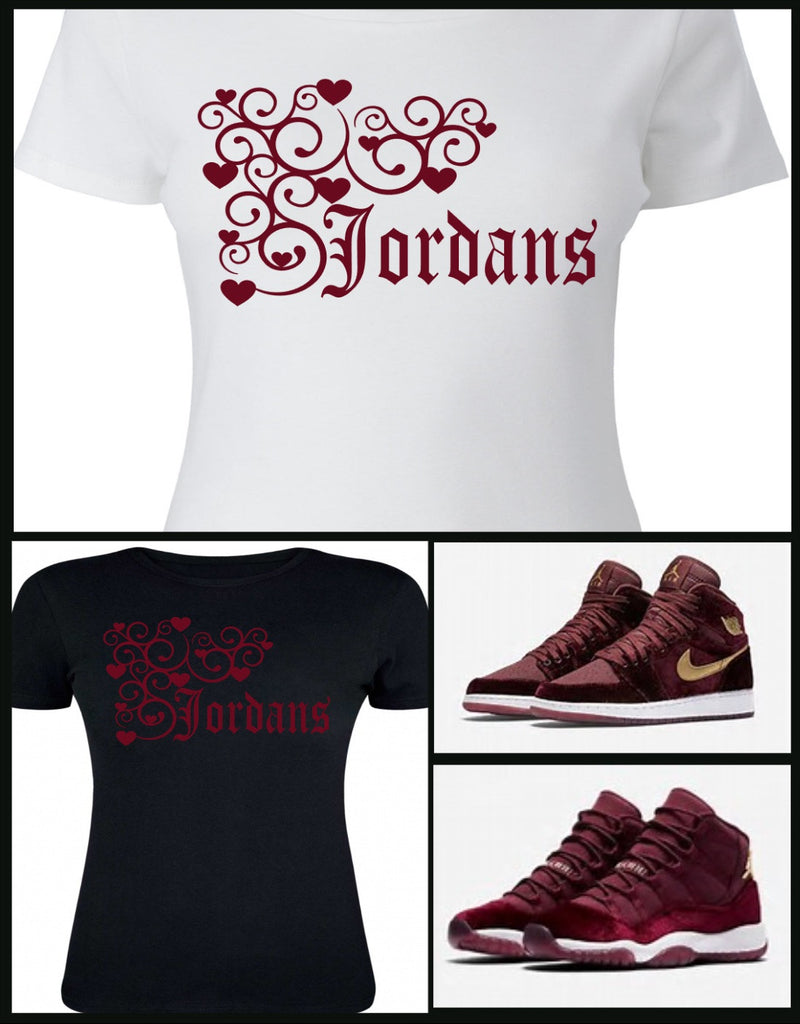 2c520d806765b7 ... LADIES WOMENS TEE SHIRT to match the NIKE JORDAN HEIRESS COLLECTION 1  OR 11 MAROON .